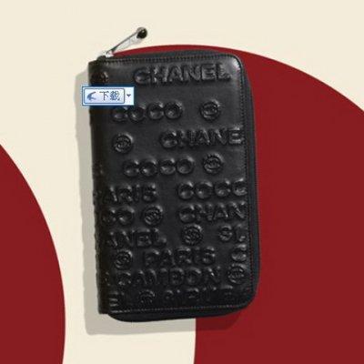香奈儿浮雕花纹牛皮拉链钱包图片(2)张